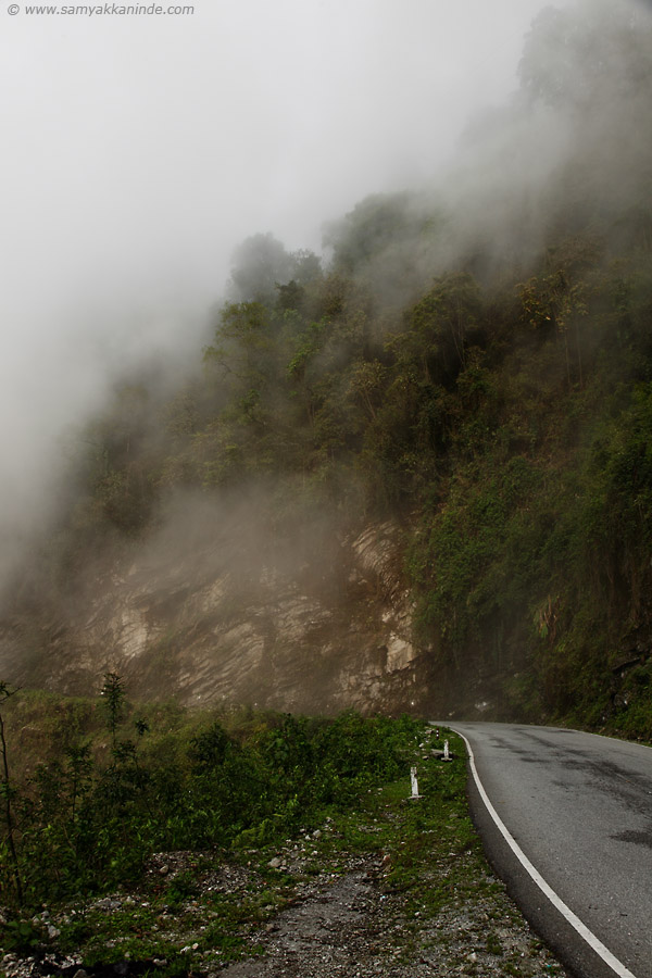 ghat road in misty way