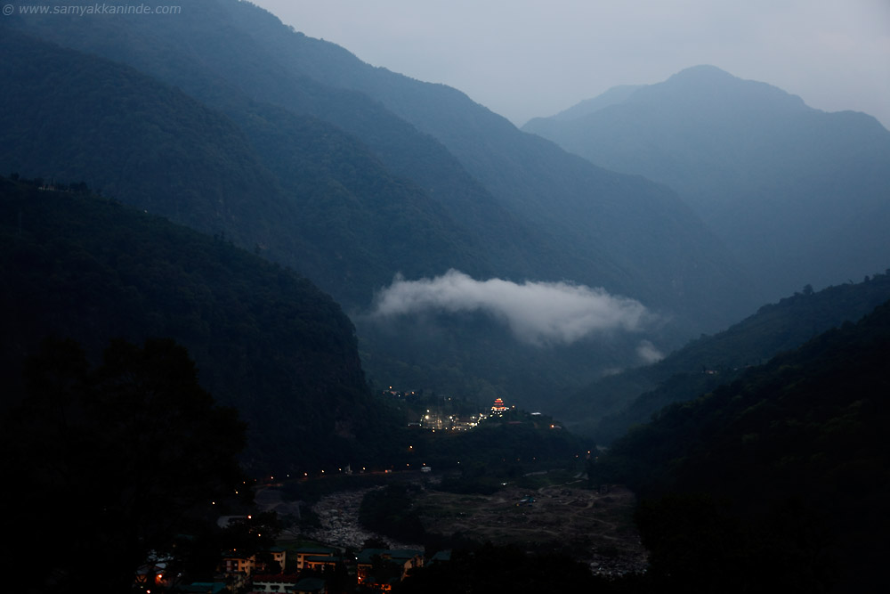 village in bhutan after sunset