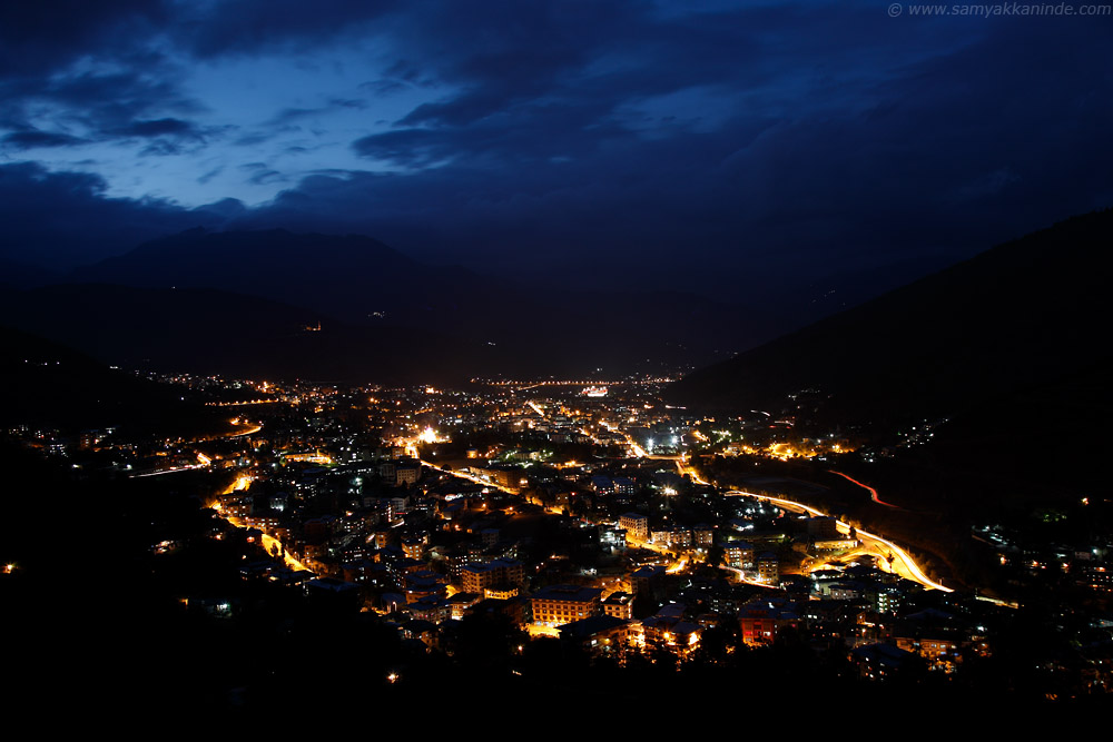 thimphu city at night