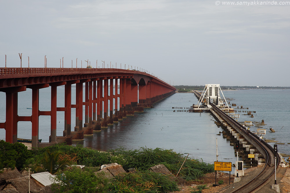 The Pamban Railway Bridge on right side and left side the road bridge.